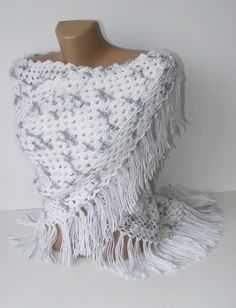 white crochet shawl, hand-crocheted shawl trends, stole, wrap , soft, warm, winter trends, spring, gifts idea, for her on Etsy, $65.00