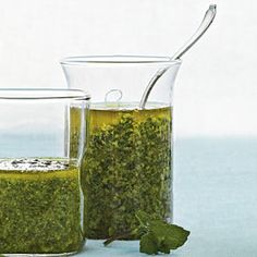 Add a pop of color and garden-fresh flavor to any main-dish meat. This pesto is great over steak, chicken, lamb, pork, and fish. Simply top the meat Vegetarian Cheese, Vegetarian Recipes, Cooking Recipes, Pasta Recipes, Mint Pesto Recipe, Birthday Dinner Menu, Mint Recipes, Appetizer Dips, Southern Recipes