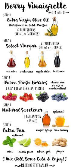 Make your own berry vinaigrette Vinaigrette Dressing, Salad Dressing Recipes, Salad Recipes, Salad Dressings, Fruit Recipes, Healthy Salads, Healthy Eating, Healthy Recipes, Healthy Food