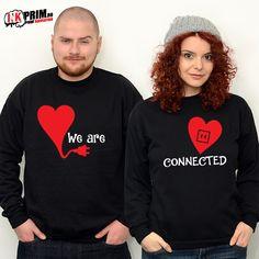 Hanorace pentru Cupluri - We are CONNECTED Christmas Sweaters, Graphic Sweatshirt, Sweatshirts, Ads, Fashion, Moda, Fashion Styles, Christmas Jumper Dress, Trainers