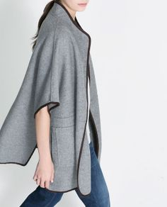 Image 2 of HAND-MADE WOOL CAPE from Zara - Easy throw on cape that will be worn over and over