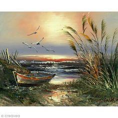 Image 3D Paysage - Barque et mouettes - 24 x 30 cm