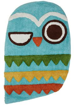 For the kid's bathroom!! Owl Clean Bath Mat - Blue, Multi, Dorm Decor, Owls, Cotton, Best Seller, Best Seller, Mid-Century, Top Rated