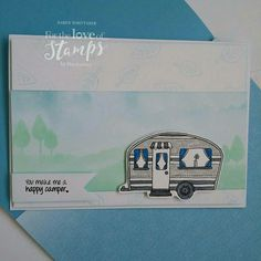 For The Love of Stamps Happy Camping Hunkydory Crafts, Caravan, Cardmaking, Stamping, Masks, Projects To Try, Love, Happy, How To Make