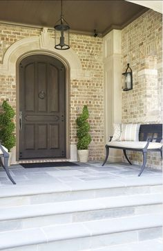 Entry Design, Pictures, Remodel, Decor and Ideas - page Home exterior design ideas Entry Way Design, Door Design, House Design, Entrance Design, Fence Design, Brick Design, Exterior Design, Fachada Colonial, White Wash Brick