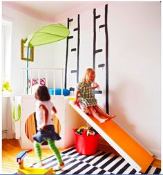 I'm pretty sure we can all say that we are jealous of these fun houses that have indoor slides. Sometimes it is a good idea to add an element of fun with indoor slides to keep your children entertained for days. Play Spaces, Kid Spaces, Small Spaces, Indoor Slides, Kids Play Area, Kids Play Corner, Toy Rooms, Kids Rooms, Kids Decor