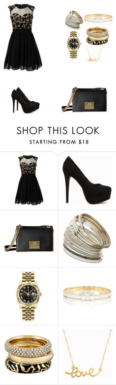 """""""Black and gold"""" by scarleet-costello ❤ liked on Polyvore featuring Nly Shoes, Miss Selfridge, Rolex, Kate Spade, Michael Kors, Minnie Grace, women's clothing, women's fashion, women and female"""