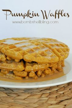 Delicious and easy pumpkin waffles with homemade buttermilk syrup is the perfect fall meal! Looks very good but not sure what size can of pumpkin was used. I'll try the small can first. Breakfast Dishes, Breakfast Time, Breakfast Recipes, Pancake Recipes, Waffle Recipes, Perfect Breakfast, Donut Recipes, Churros, Pumpkin Recipes