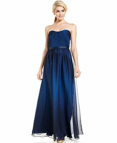 JS Boutique Strapless Belted Ombre Gown. might look good