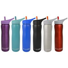 Summit Insulated Stainless Steel Water Bottle with Flip Straw