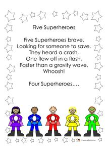 Five Superheroes rhyme — adaptable to many early learning math lessons!