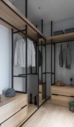 Paint white ikea closet units the poles black - Modern Walk In Closet Design, Bedroom Closet Design, Master Bedroom Closet, Closet Designs, Bedroom Black, Bathroom Closet, Ikea Closet, Closet Storage, Closet Organization