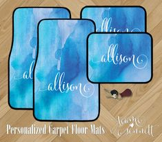 Watercolor Wash Personalized Car Floor Mats  by TeamSennett