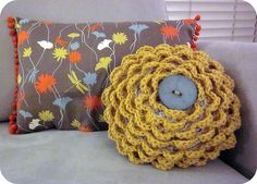Rose Pillow (shell-stitch pattern attached to patterned fabric and button sewn in center)