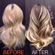.Look how much better low lights toning make this blonde.