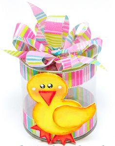 Bote PVC con patito amarillo/rosa Perfecto para recuerdos de Baby Shower