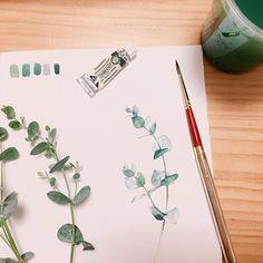 I like Eucalyptus..🌿 . . #수채화 #식물그림 #수채화클래스 #watercolor #watercolour #watercolorpainting #aquarelle #watercolorillustration #ucaliptus