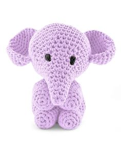 Hoooked Large Elephant Mo lilac amigurumi crochet kit & pattern #crochet #gift #cute #animal #craft