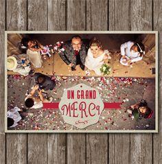 carte de remerciement mariage retro - Remerciement Mariage Personne Absente