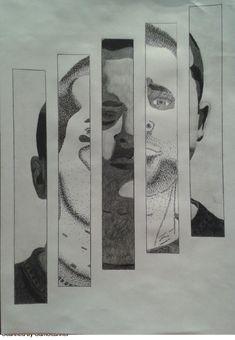 (Composición 5) Imagen de composición, Retrato Definitivo en técnica lápiz usando plano, linea y punto.