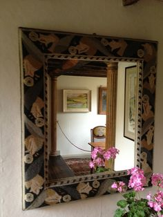 Needlepoint Mirror Made by Duncan Grant's Mother, Ethel Grant, located at Monk's House, Home of Virginia Woolf and Leonard Woolf, Rodmell, Sussex, England, via Flickr.