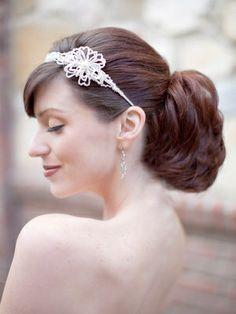 Hair Comes the Bride - Beaded Flower Headband Tiara ~ Maribeth, $68.00 (http://www.haircomesthebride.com/beaded-flower-headband-tiara-maribeth/)