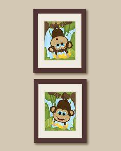 Cute Monkey Illustrated Nursery/Children's Room Printed Artwork. Jungle Theme.