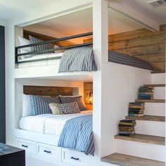 HGTV's Fixer Upper rustic bunk room with staircase-style ladder and rustic shiplap paneling. Via Magnolia Market Instagram.