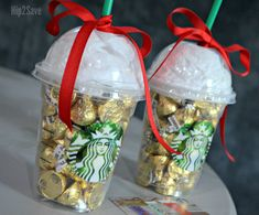 5 EASY and UNIQUE Christmas Gift Wrapping Ideas - - Starbucks gift card in cup – Fill a frappuccino cup with candy and stuff a gift card inside. Christmas Gifts For Coworkers, Unique Christmas Gifts, Homemade Christmas Gifts, Christmas Gift Wrapping, Homemade Gifts, Christmas Diy, Diy Gifts, Wrapping Ideas, Creative Gift Wrapping