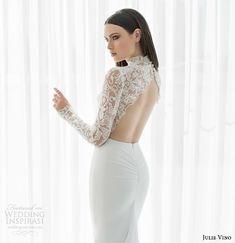 julie vino bridal spring 2015 urban abigaile illusion lace long sleeve wedding dress scalloped open back view