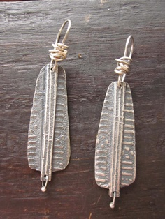 Silver mud cloth earrings by celiefago on Etsy, $165.00