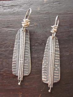 Silver mud cloth earrings by celie fago