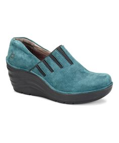 Look at this Bionica by Softspots Teal & Black Coast Leather Wedge on #zulily today!