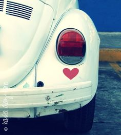 I (heart) My Bug (i really did) - 8x8 Fine Art Photography Print - white vw bug - car - beetle - vintage. $25.00, via Etsy.