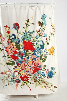Romantic Floral Scarf Shower Curtain