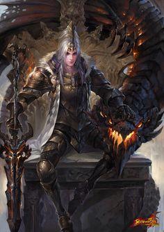 Guerrero y dragon