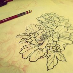 peony japanese tattoo black and grey - Google Search