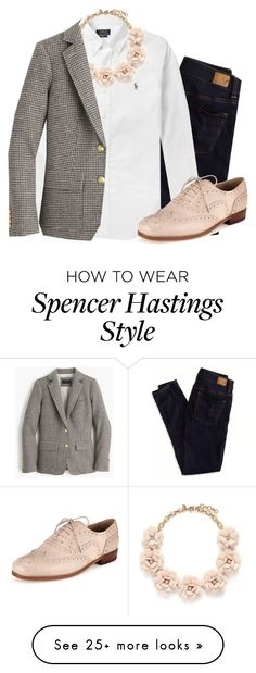 """Spencer Hastings inspired!"" by mackenziejameson on Polyvore featuring American Eagle Outfitters, Polo Ralph Lauren, J.Crew, women's clothing, women, female, woman, misses, juniors and PrettyLittleLiars"