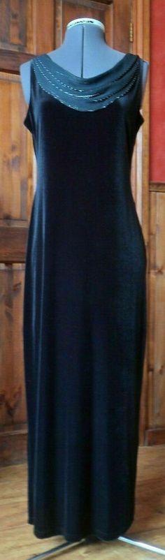 BIBA LADIES LONG BLACK JERSEY-VELVET BELTED DRESSING GOWN-SIZE L-SIZE 14-16