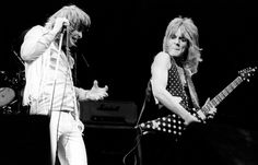 Randy Rhoads in full flight onstage with Ozzy Osbourne