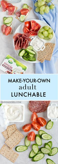 Adult Lunchable! Make your own delicious, healthy lunch with salami (or any deli meat), Arla cream cheese, vegetables, and crackers. Great for a kid friendly school lunch idea! via @andiemitchell