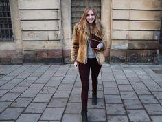 Fur coat  + colored pants