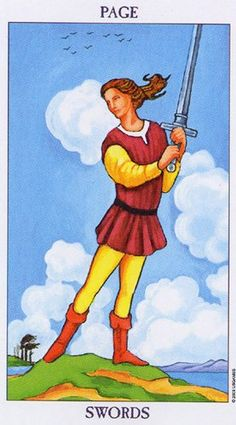 Detailed Tarot card meaning for the Page of Swords including upright and reversed card meanings. Access the Biddy Tarot Card Meanings database - an extensive Tarot resource. Page Of Swords, Tarot Significado, Tarot Gratis, Rider Waite Tarot, Tarot Learning, Tarot Card Meanings, Tarot Decks, Tarot Cards, Cartoon Art