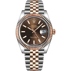 Rolex Datejust 41mm Steel and Everose Gold 126331 Chocolate Index... ($11,350) ❤ liked on Polyvore featuring men's fashion, men's jewelry, men's watches, stainless steel, mens gold watches, rolex mens watches and mens stainless steel watches