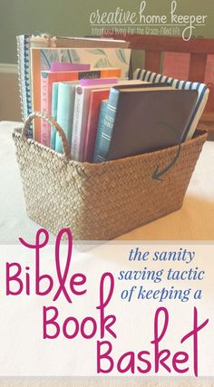 Want a more organized and productive devotional time? Try the sanity saving tactic of keeping a Bible book basket. There are so many benefits to having one. Learn why you should have one, how to organize it and what to keep in your basket. via @victoriaosborn