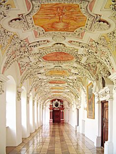 Beautiful architecture inside Wessobrunn Abbey in Bavaria, Germany