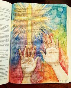 Luke 6:17-19 The Original Bible Art Journaling Challenge 12 http://www.rebekahrjones.com/bible-art-journaling-challenge/the-original-bible-art-journaling-challenge/