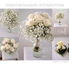 Baby's breath and creamy roses - wedding flowers - wedding posy  - Buttonholes - By Petals to Inspire