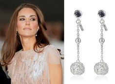 Links of London Effervescence Bubble Stiletto Earrings, which Duchess Catherine wore for her first red carpet appearance following the royal wedding - the 2011 Ark Gala.