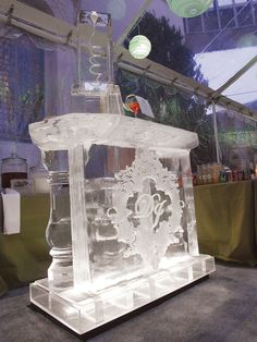 The ice bar is a MUST to take the winter wonderland theme over the top. Ill get it just for the elaborate of the ice sculpture drink dispenser Bling Wedding, Luxury Wedding, Wedding Reception, Dream Wedding, White Wedding Decorations, Decor Wedding, Winter Wonderland Theme, Winter Theme, Ice Sculpture Wedding